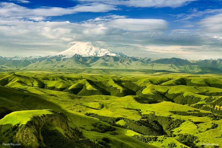 Amazing landscape with Mount Elbrus in the background