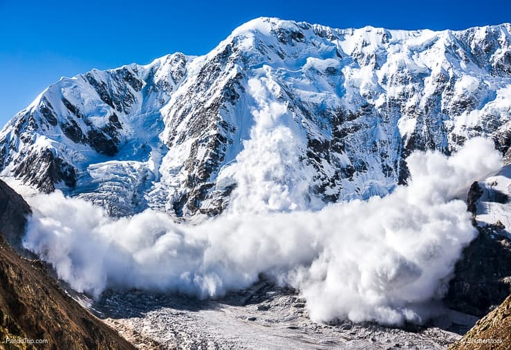Avalanche comes from a Shkhara mountain in Georgia