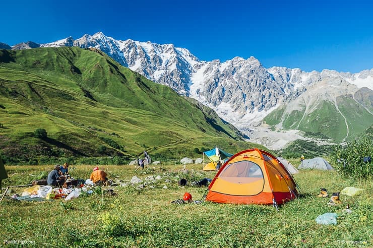 Camping near Ushguli with Shkhara landscape in the backgroung