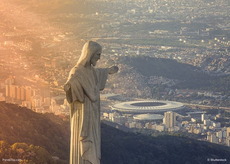 Christ The Reedemer Statue looking at Maracana Stadium in Rio de Janeiro