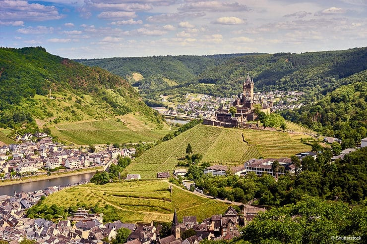 City of Cochem with Reichsburg Castle in wine growing area of Moselle