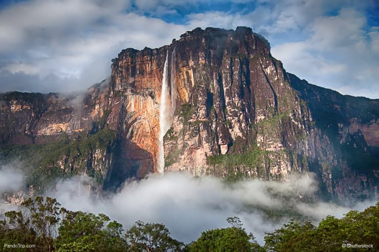 Close Up Of Stunning Angel Falls In Soft Morning Light