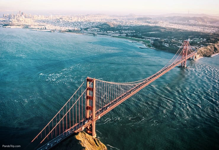 Drone view of Golden Gate Bridge in San Francisco