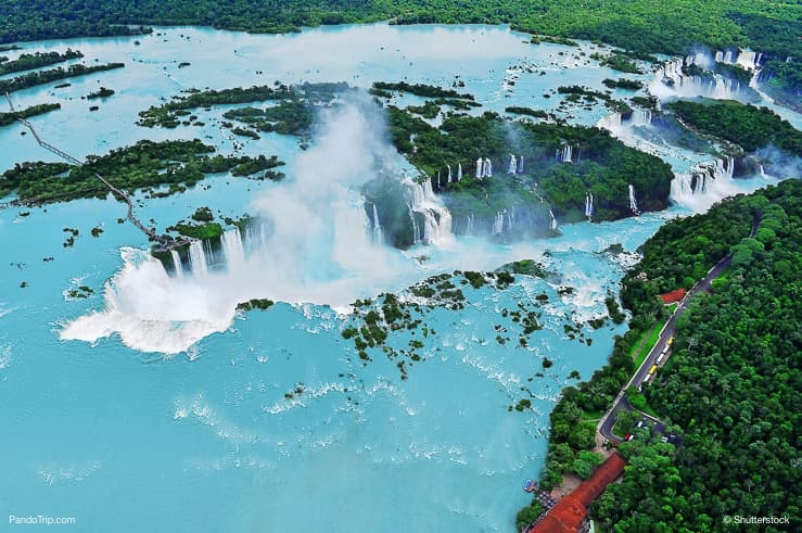 Drone view of Iguazu waterfalls. Border of Brazil and Argentina