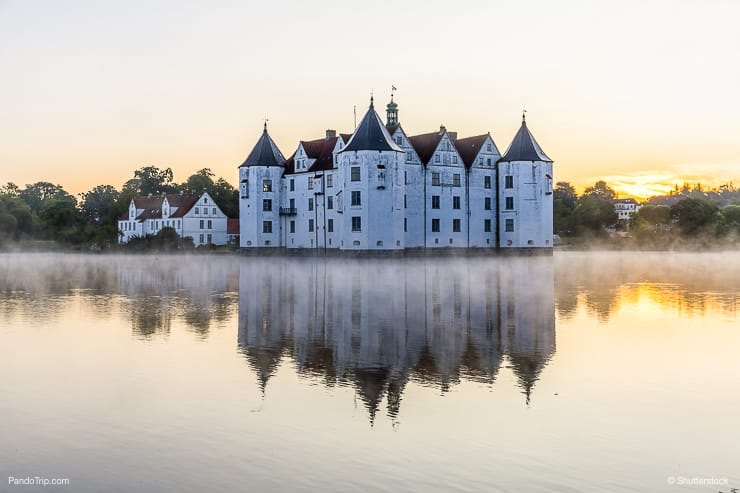 Glucksburg water castle at dawn, Germany