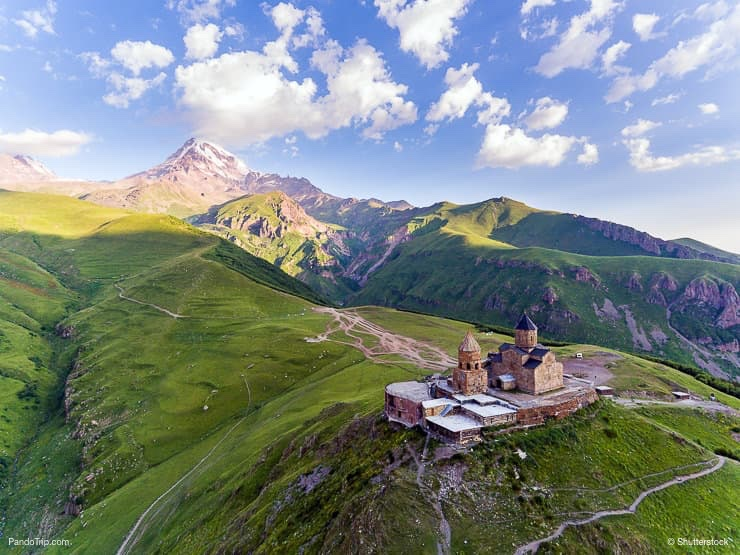 Holy Trinity Church and Mount Kazbek or Stepantsminda