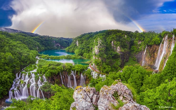 Morning over waterfalls in Plitvice National Park Croatia
