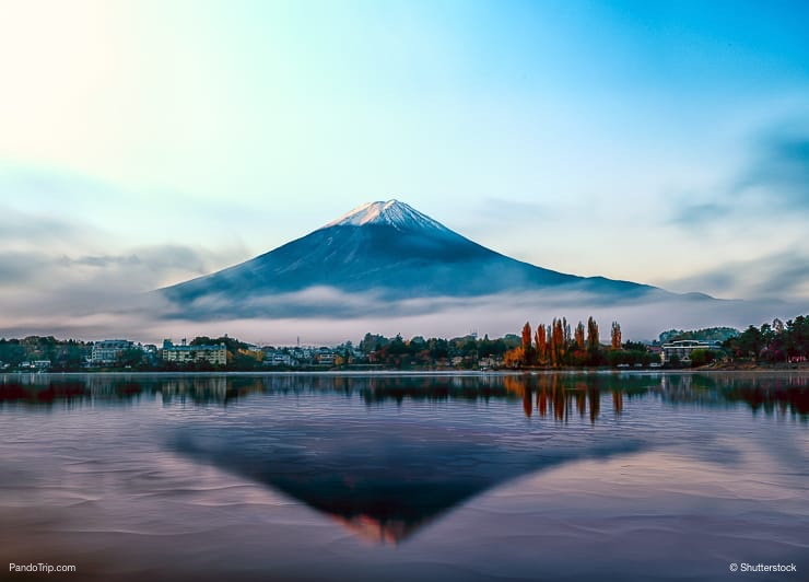 Mount Fuji Reflection on Lake Shojiko in the early morning