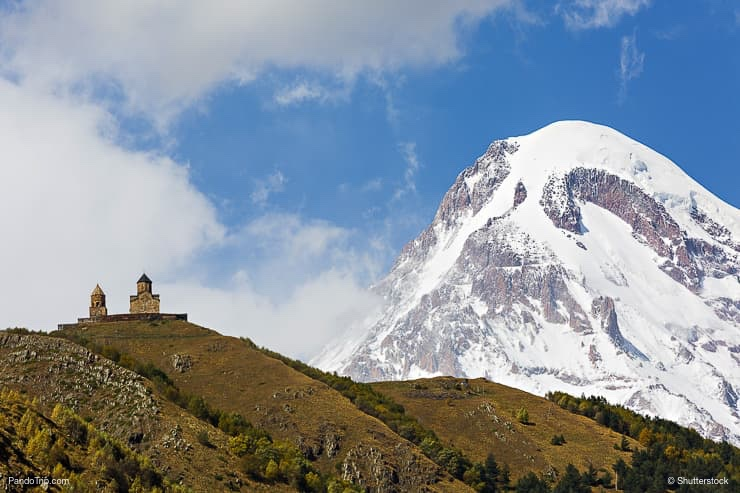 Mount Kazbek and Gergeti Church_