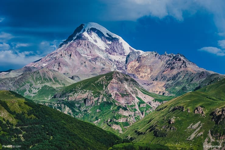 Mount Kazbek view from Stepantsminda town in Georgia