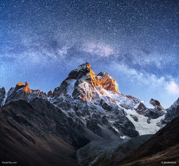 Mount Ushba at night