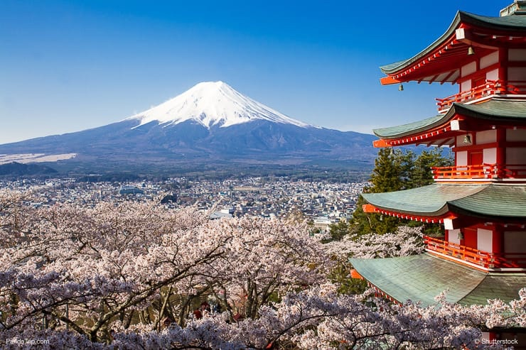 Mountain Fuji and Chureito red pagoda with cherry blossom