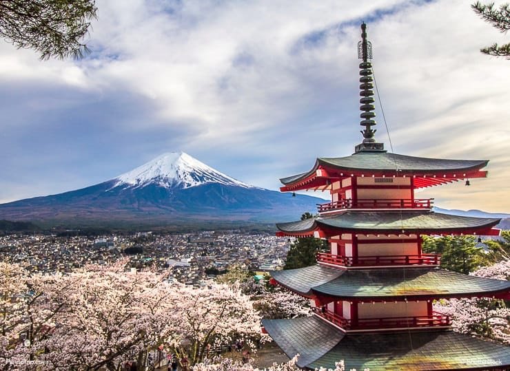 Red Pagoda and Mt Fuji