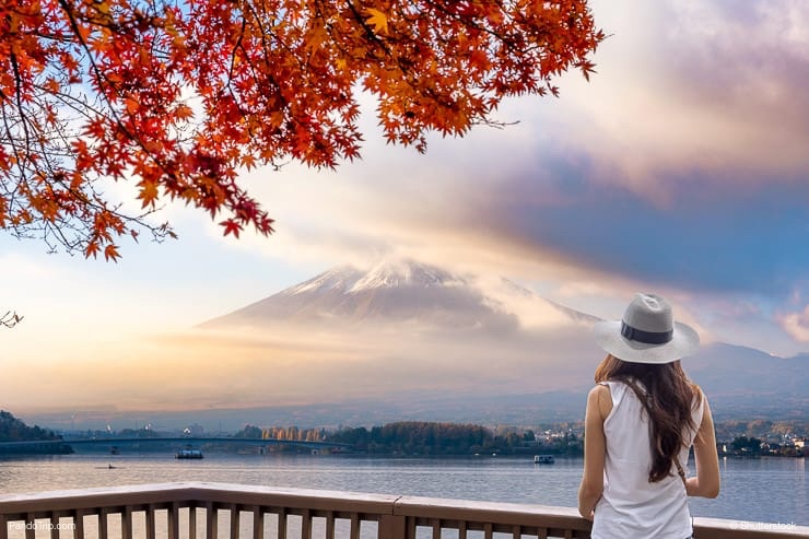 Woman looking at Mount Fuji, Japan
