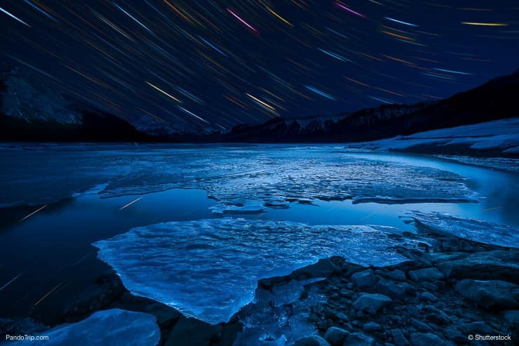 Abraham Lake at night