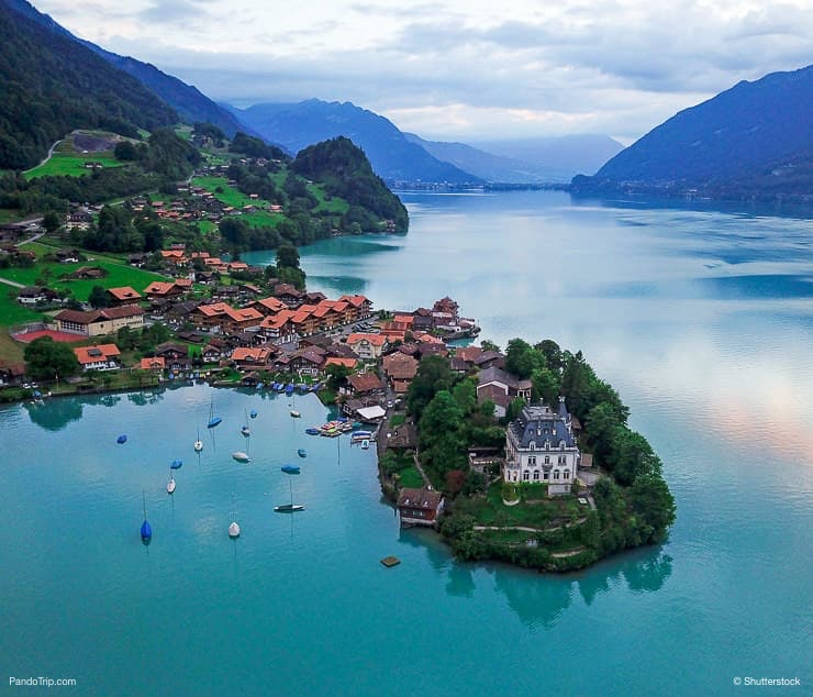 Aerial view of Iseltwald on Lake Brienz