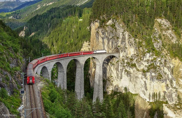 Aerial view of Landwasser Viaduct and Glacier Expres