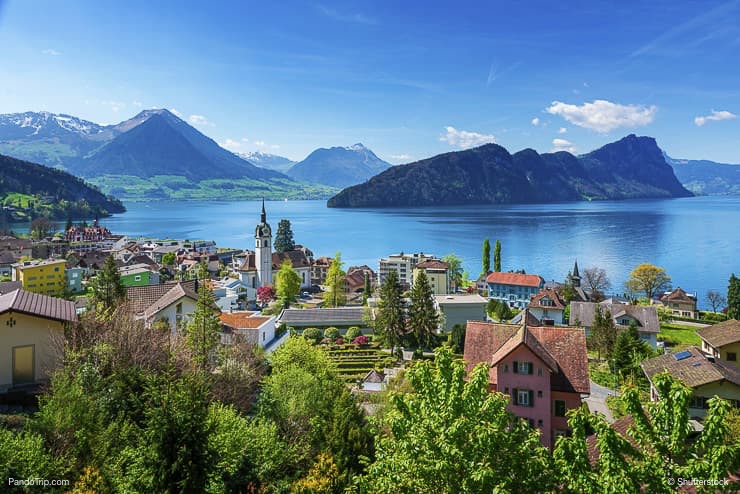 Brienz town on Lake Brienz by Interlaken, Switzerland