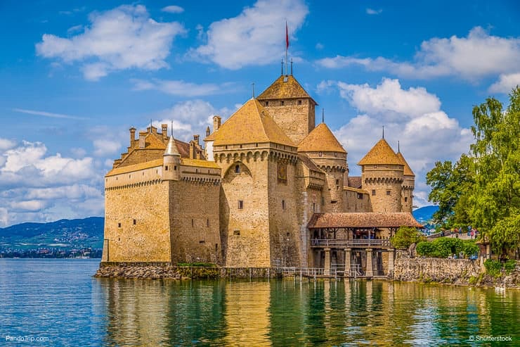Classic view of Chateau de Chillon in Switzerland