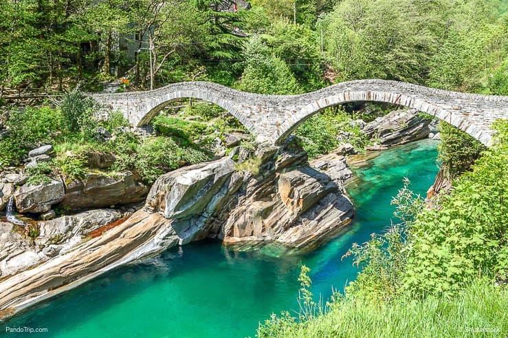 Double arch stone bridge Ponte dei Salti, Lavertezzo, Verzasca