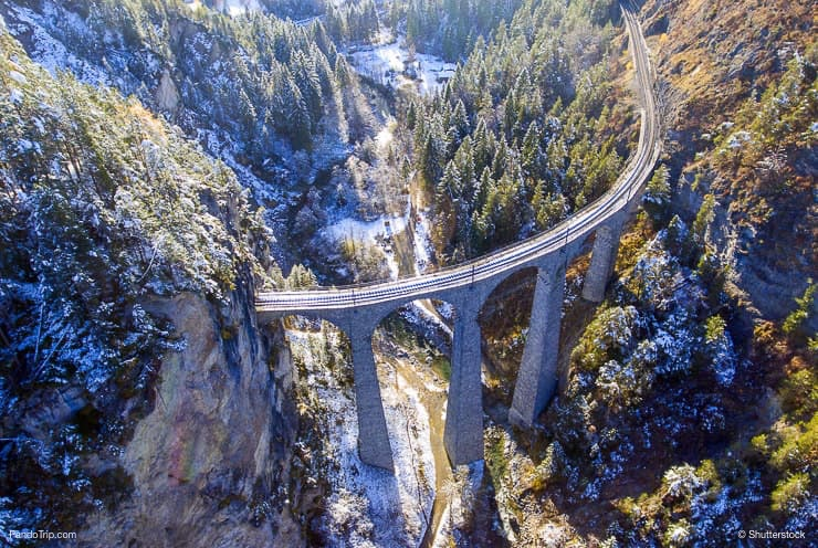 Drone view of beautiful Landwasser Viaduct