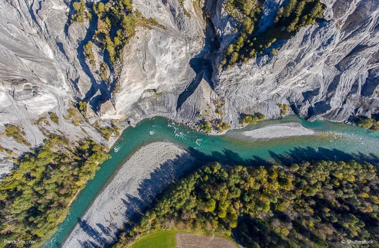 Drone view to Ruinaulta or Rhine Gorge, Grand Canyon of Switzerland