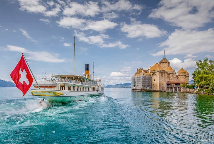 Excursion ship and Chateau de Chillon