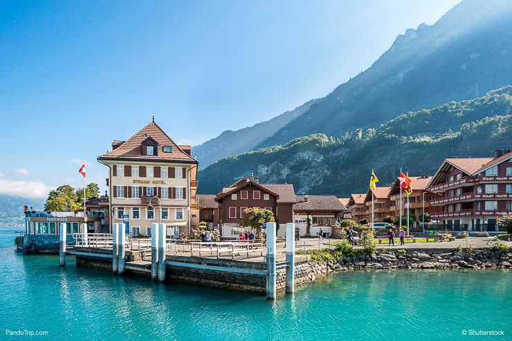 Iseltwiald village on Brienz lake in Switzerland