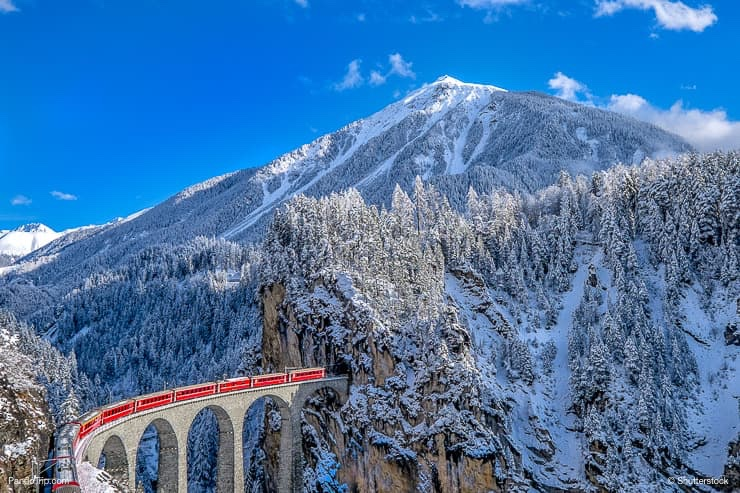 Landwasser Viaduct bridge in Winter
