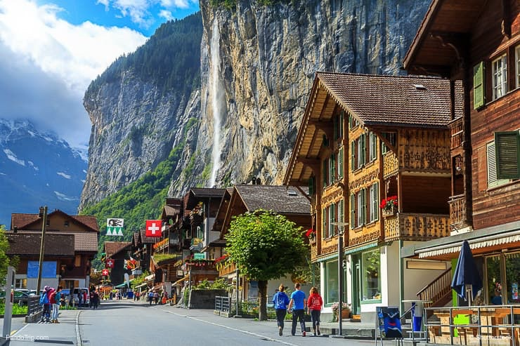 Lauterbrunnen and stunning Staubbach waterfall in background