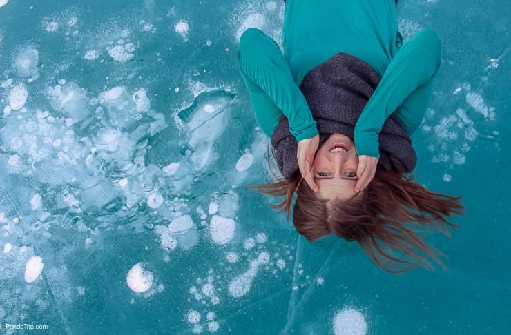 Lying on Abraham Lake, Canada