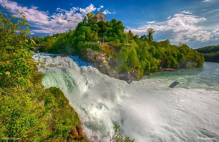 Rhine falls the largest plain waterfall in Europe