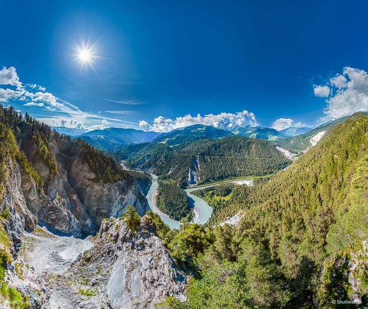 Ruinaulta, Rhine Gorge, a canyon created by the Anterior Rhine in Switzerland