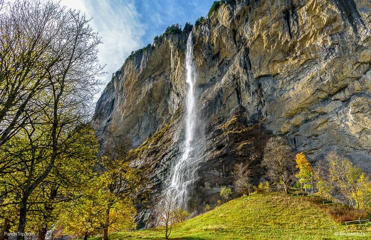 Staubbach waterfall during Autumn