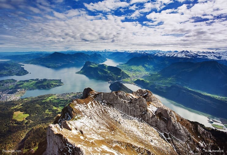 Swiss Alps view from Mount Pilatus, Lucerne Switzerland