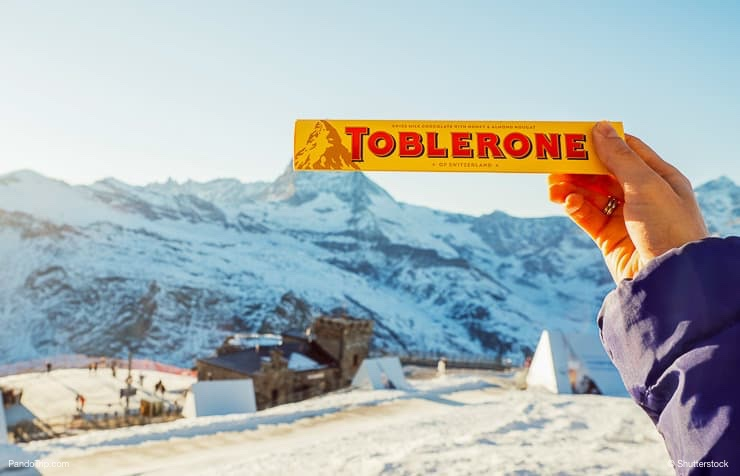Toblerone chocolate on the Matterhorn mountain background in Switzerland