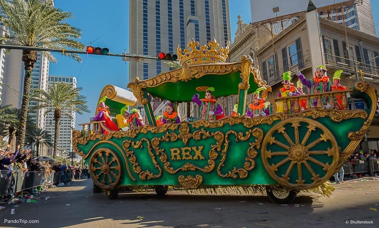 A float from the Krewe of Rex in New Orleans Louisiana during Mardi Gras