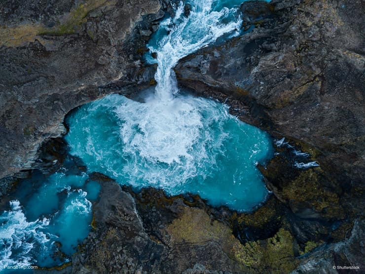 Aerial view of Aldeyjarfoss waterfall in Iceland