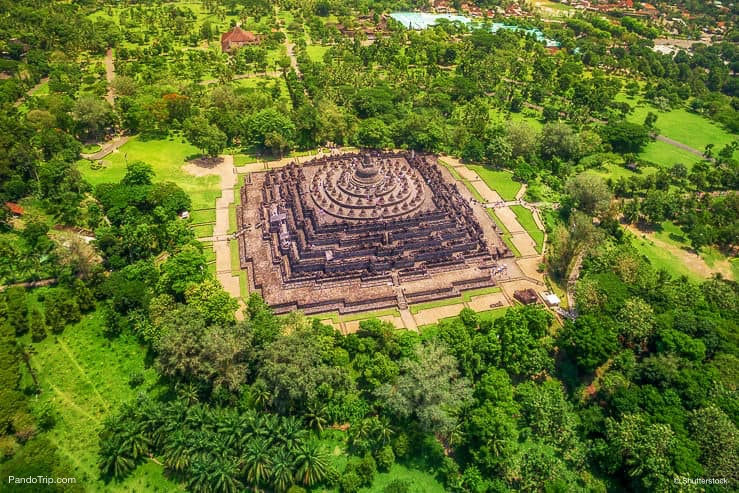 Aerial view of Borobudur temple in Central Java, Indonesia