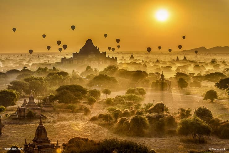 Air balloons above Bagan in Myanmar