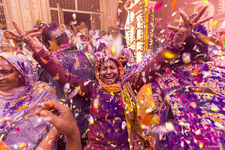 An Indian widow celebrating Holi in Vrindavan, Uttar Pradesh, India
