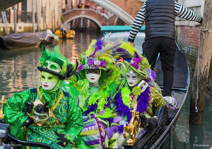 Beautiful masks in gondola at the Carnival of Venice