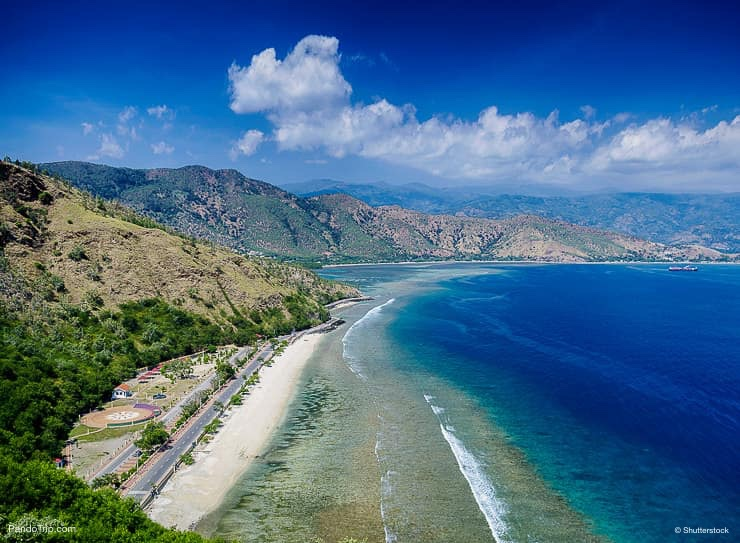 Cristo Rei landmark tropical beach in Timor-leste