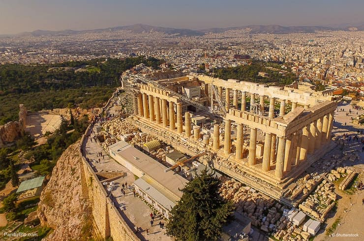 Drone view of Acropolis hill and the Parthenon, Athens, Greece