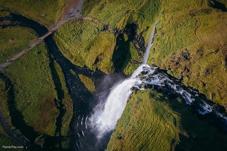 Drone view of Seljalandsfoss waterfall
