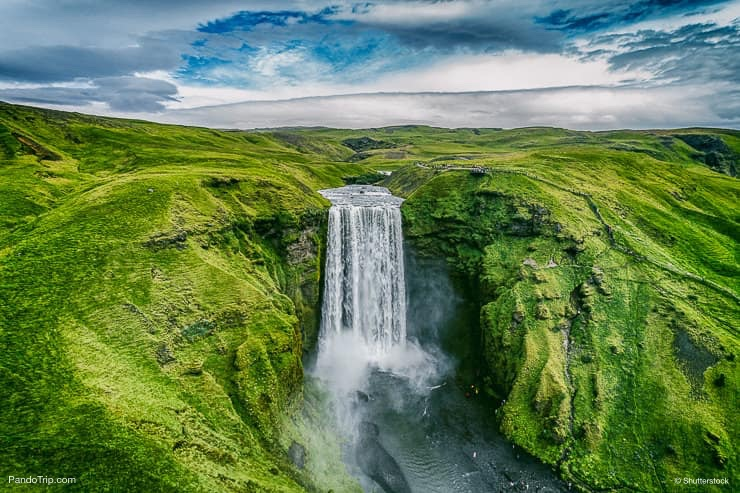 Drone view of Skogafoss waterfall