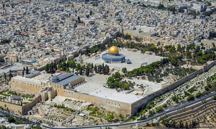 Drone view of Temple Mount, Jerusalem