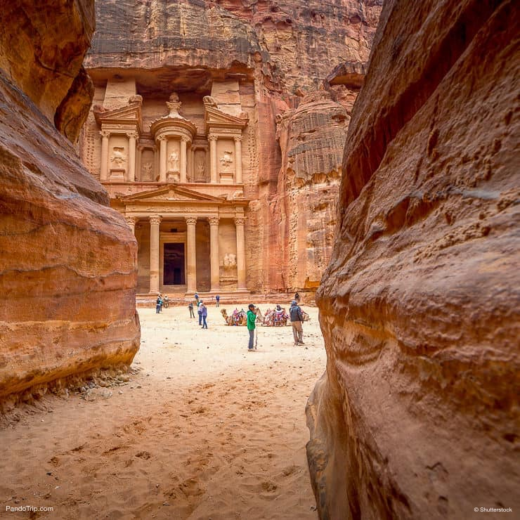 Front view of ancient temple in Petra, Jordan