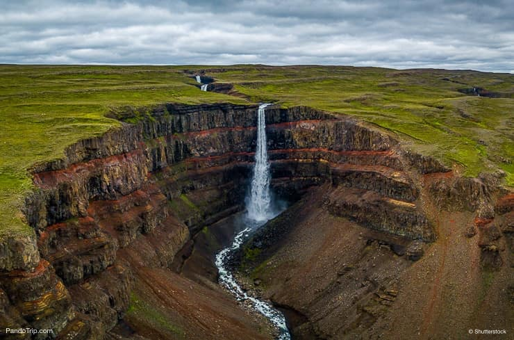 Hengifoss Waterfall from above