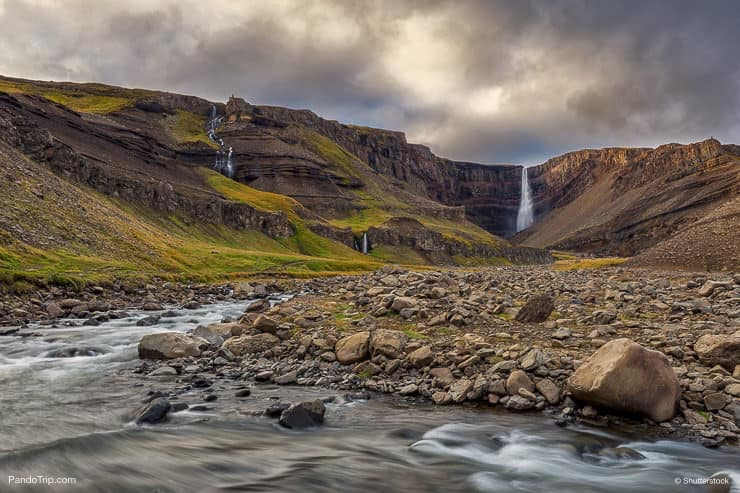 Hengifoss Waterfall in Iceland